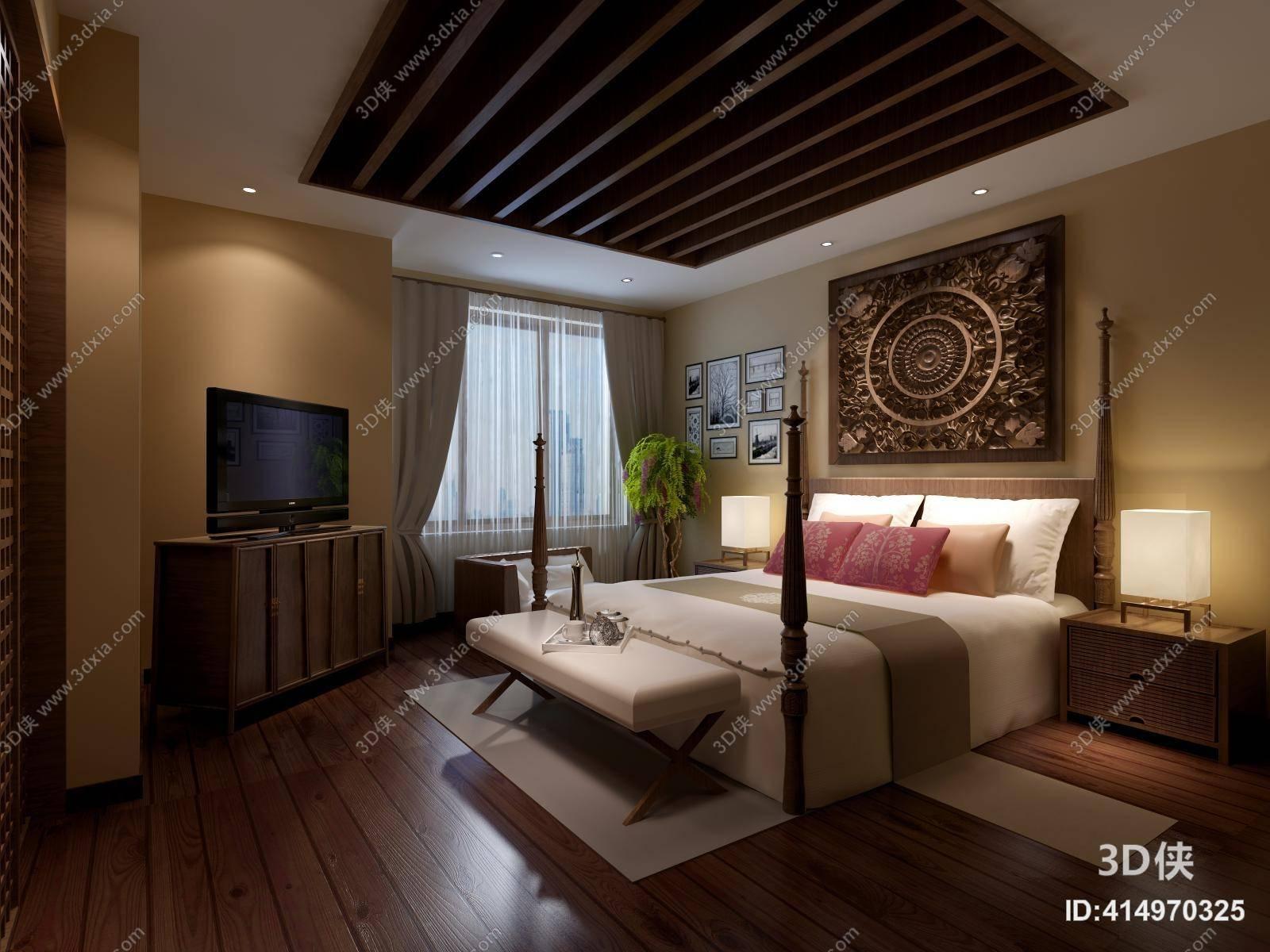 美式简约家居主卧室 美式简约木艺电视柜 长方形墙饰挂件图片