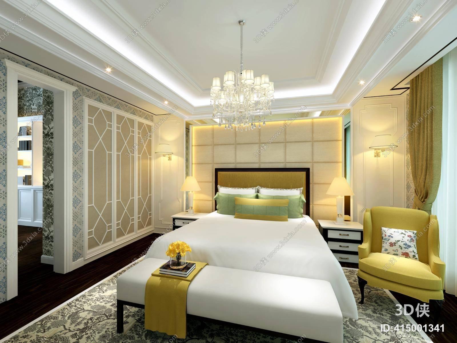 欧式简约家居主卧室 欧式简约白色吊灯 欧式简约黄色单人沙发 欧式