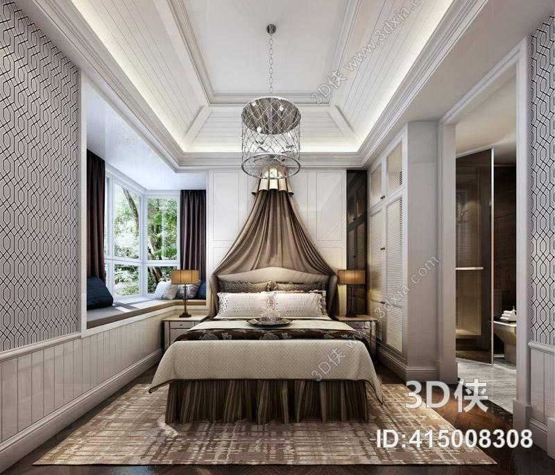 欧式简约家居主卧室 铁艺鸟笼型吊灯 棕色布艺床幔 欧式简约飘窗