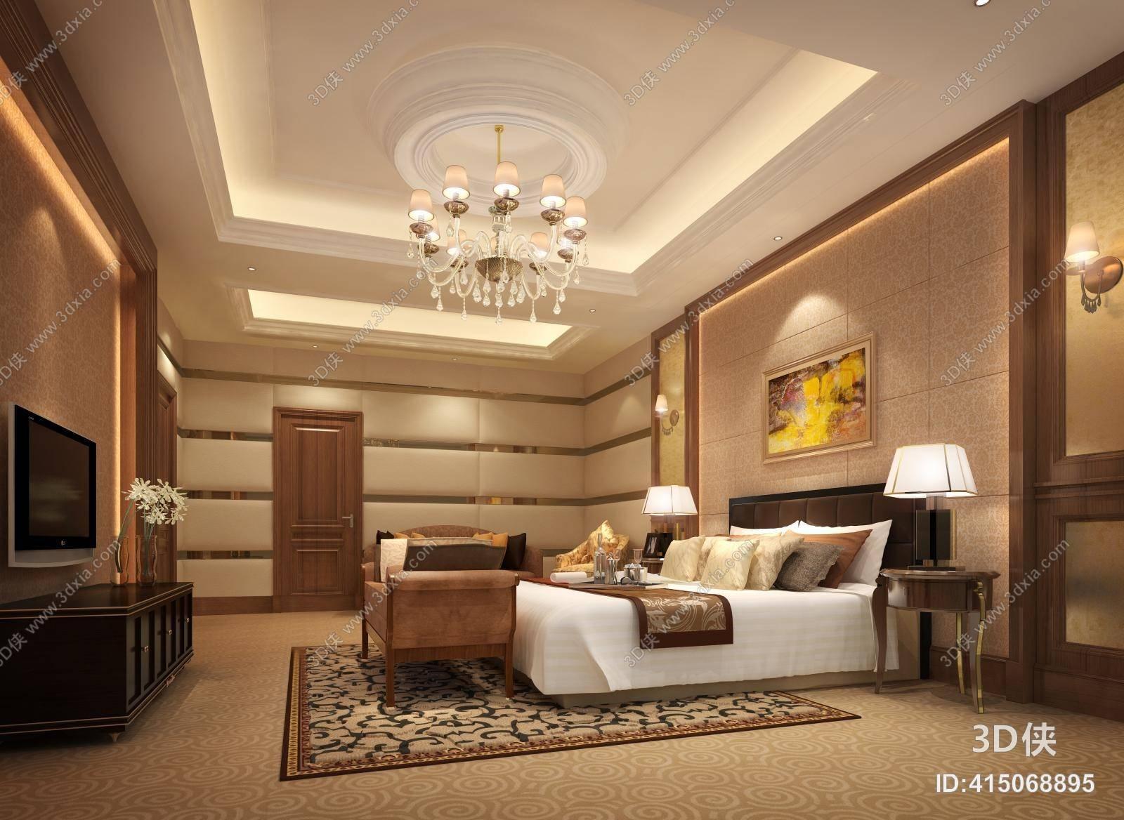 欧式简约家居卧室 欧式简约棕色双人床 欧式简约棕色长方形木艺电视柜