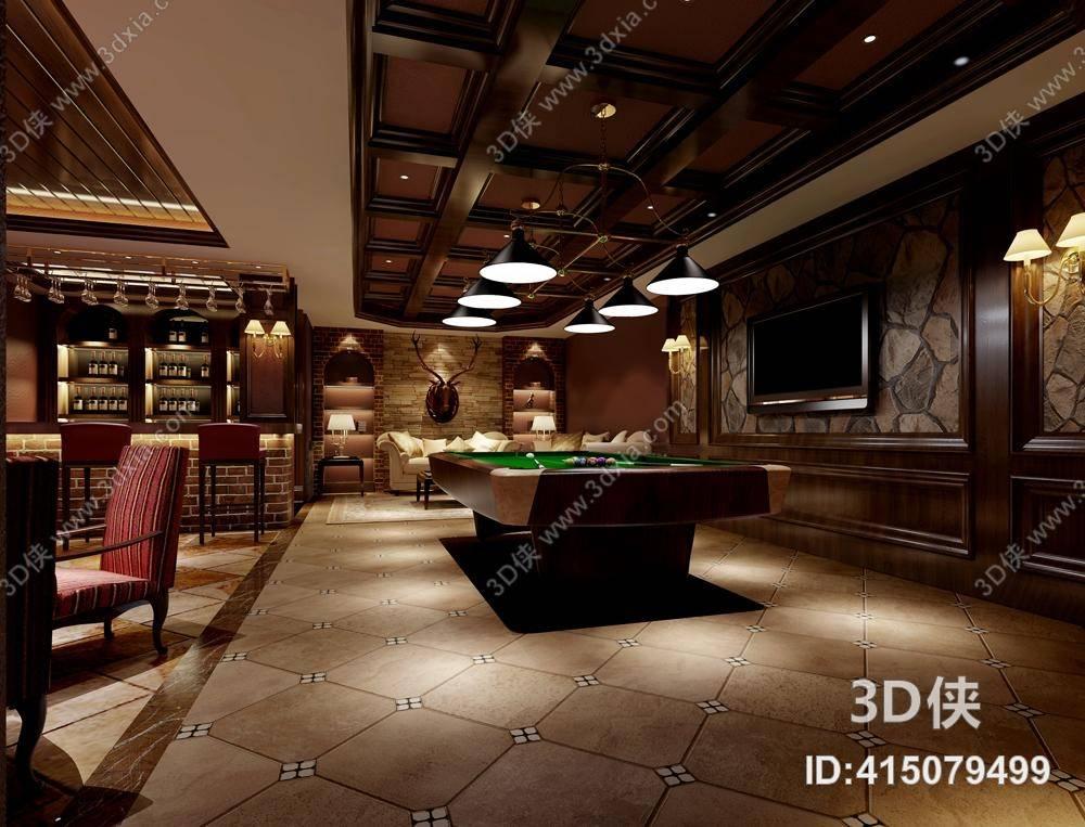 酒吧台效果图素材免费下载,本作品主题是传统美式酒吧 传统美式吧台吧