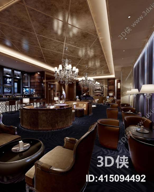 现代酒吧 欧式简约水晶吊灯 现代椅子茶几组合