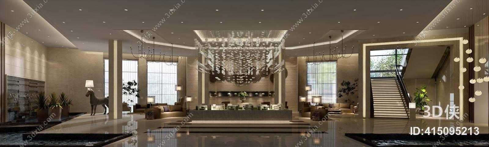 2010,建议使用3dmax 2012 软件打开,该现代酒店大堂图片素材大小是94.