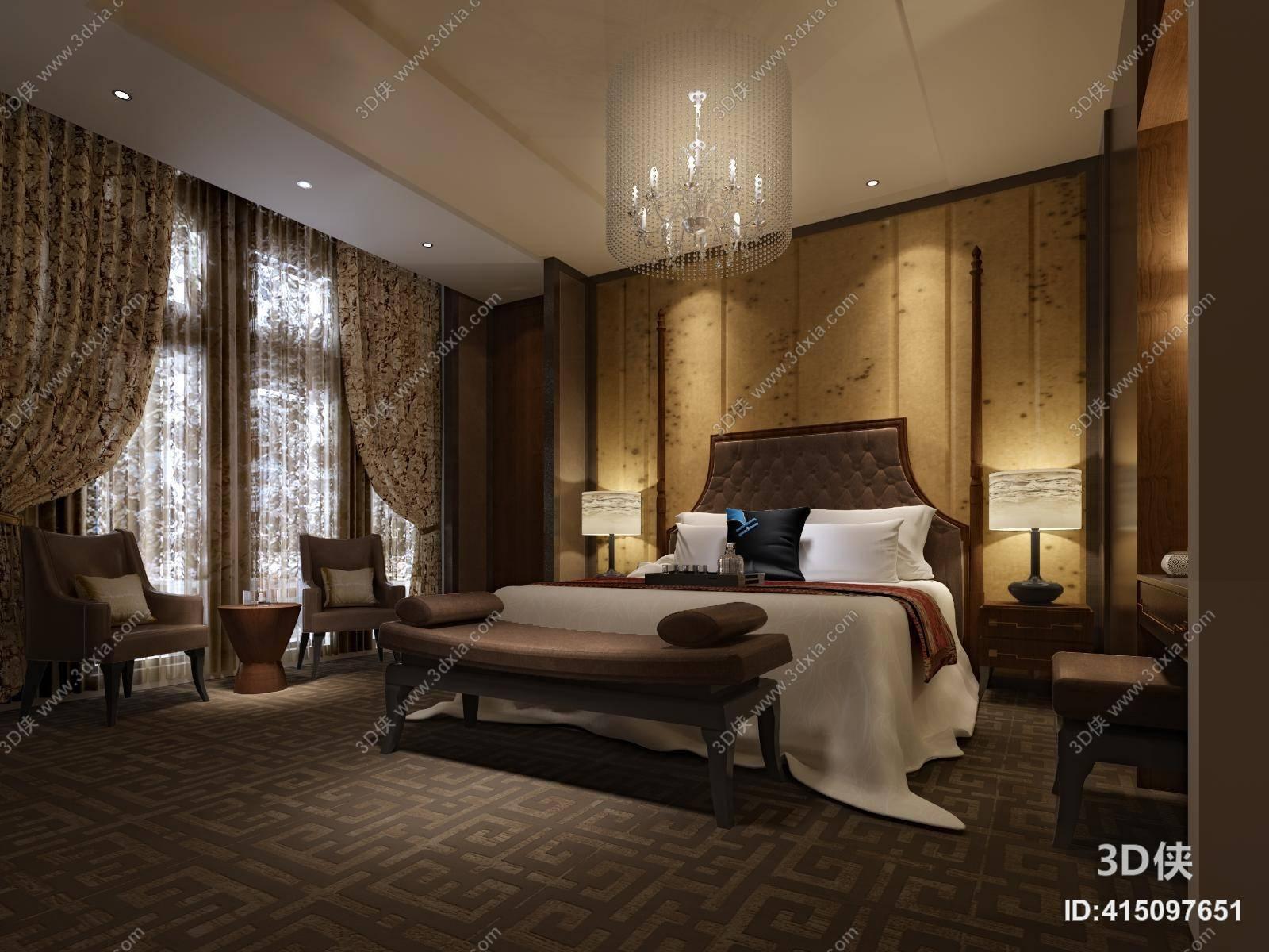 欧式简约酒店客房 欧式简约铁艺吊灯 欧式简约棕色布艺床尾凳