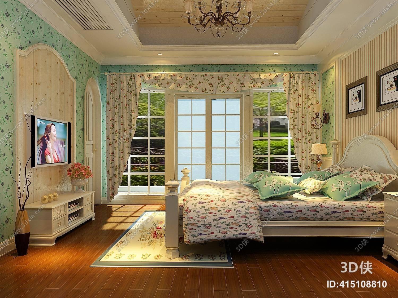 美式田园家居卧室 美式简约白色长方形木艺电视柜图片
