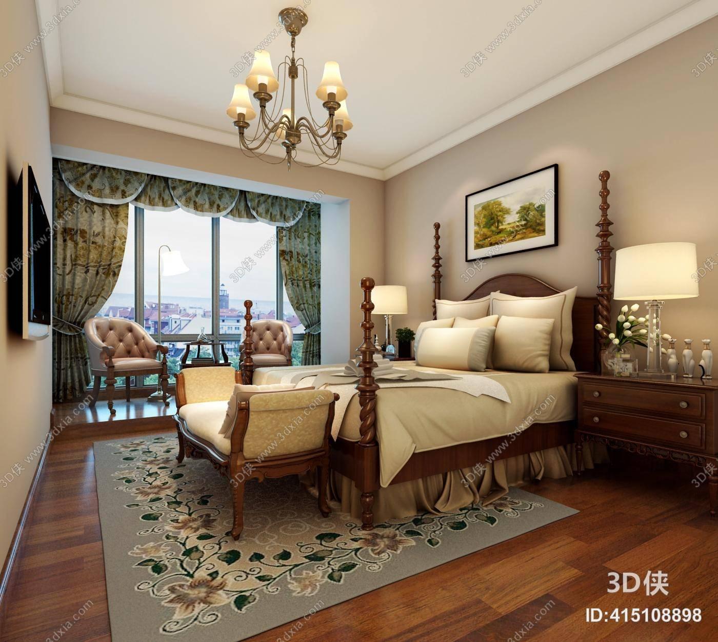 传统美式家居卧室 美式简约铜艺吊灯 传统美式木艺双人床 传统美式长图片