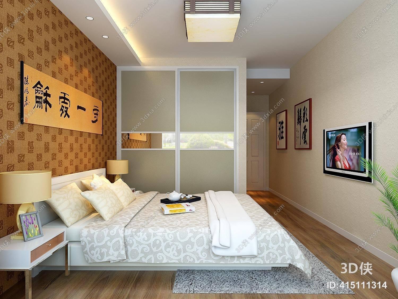 现代家居主卧室 长方形书法挂画