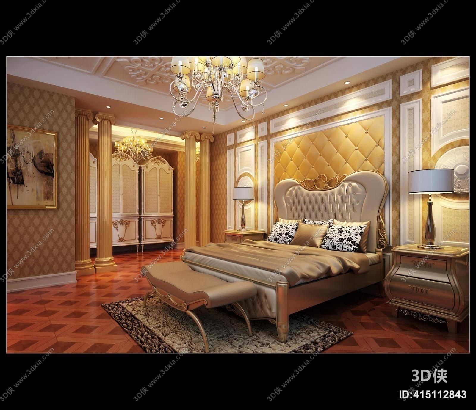 欧式古典家居卧室 经典欧式铜艺吊灯 金色罗马柱 欧式古典棕色木艺床