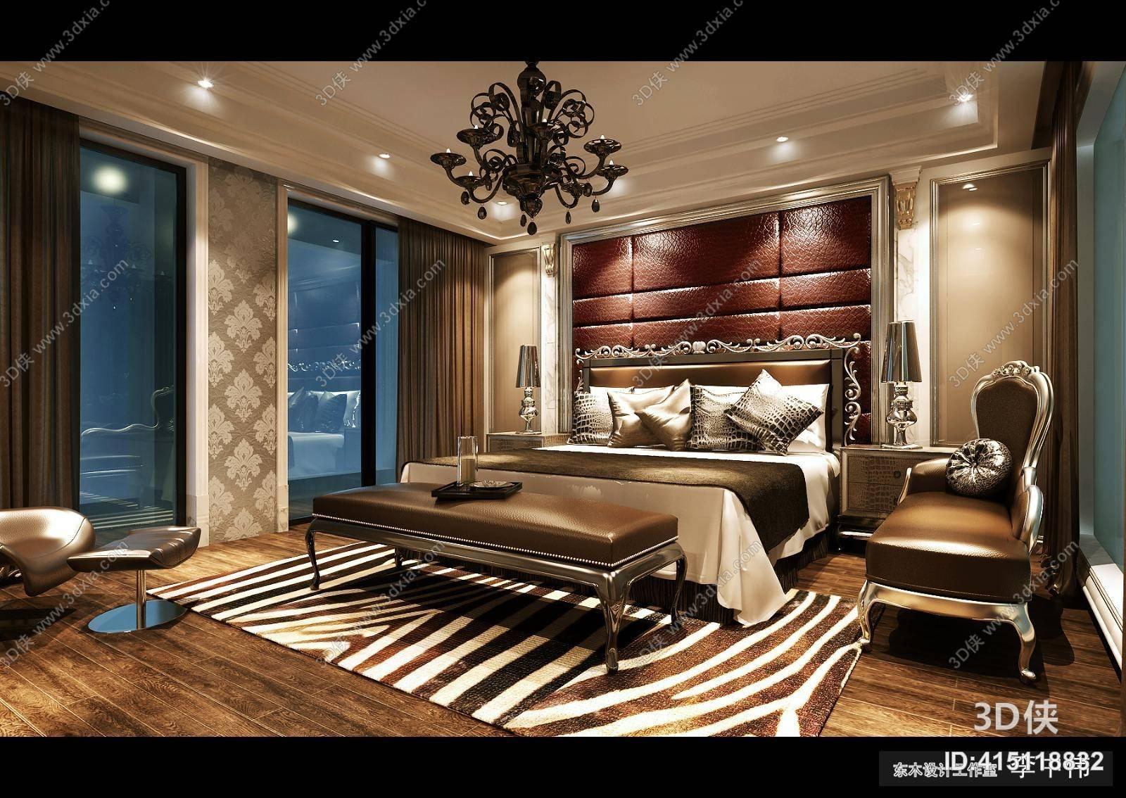 经典欧式家居卧室 经典欧式黑色铜艺吊灯 经典欧式棕色长方形贵妃椅