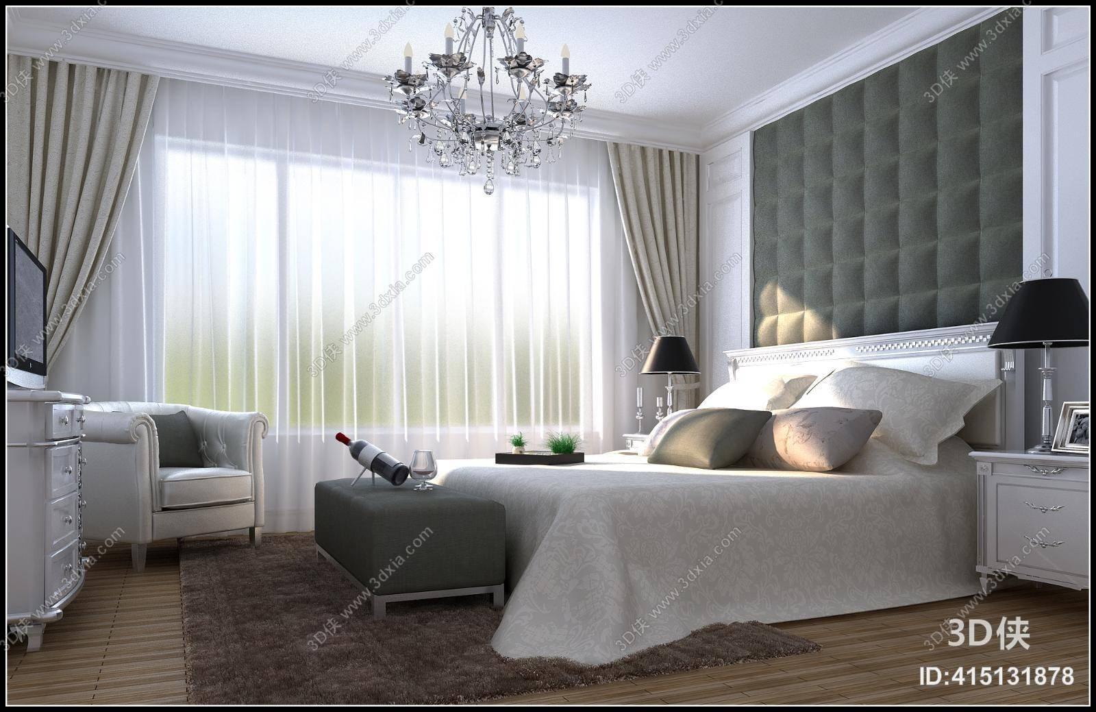 家居卧室效果图素材免费下载,本作品主题是欧式简约白色家居卧室 现代