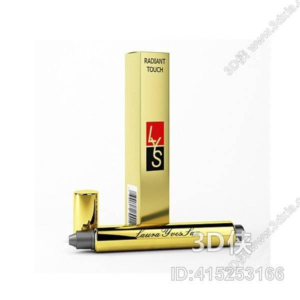 效果图素材免费下载,本作品主题是金色金属口红,编号是415253166,格式