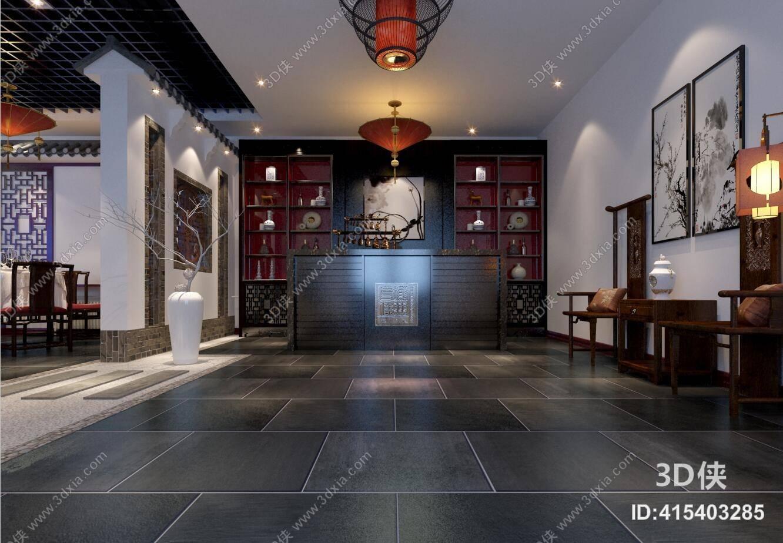 新中式酒店大堂3d模型【id:415403285】图片