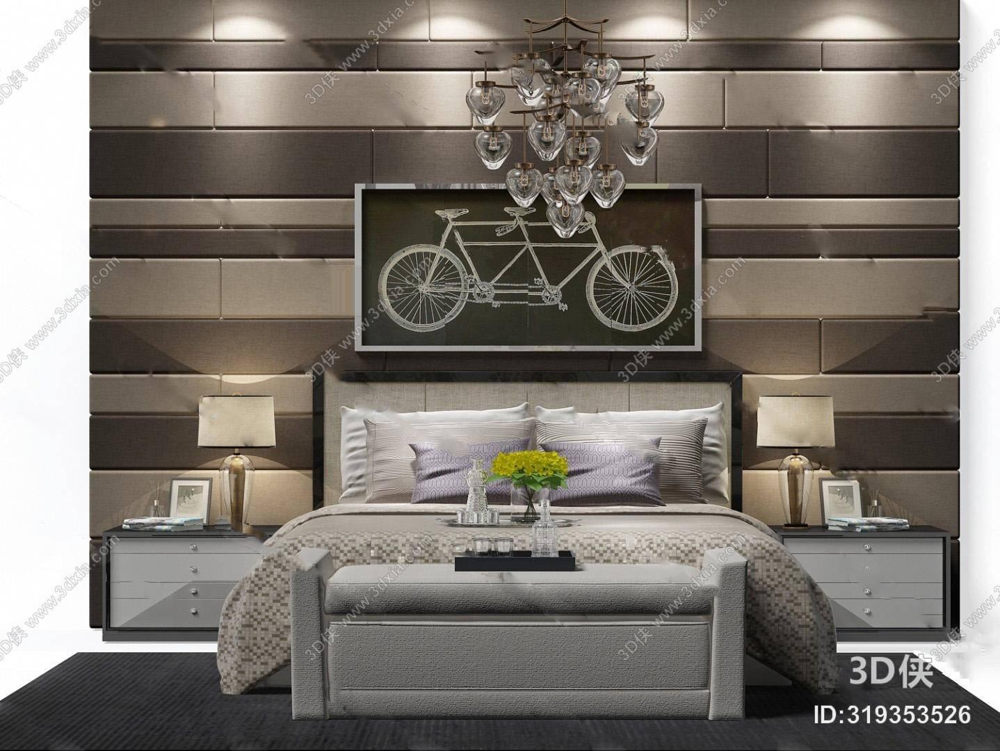现代双人床3D模型 装饰画 床边柜 台灯