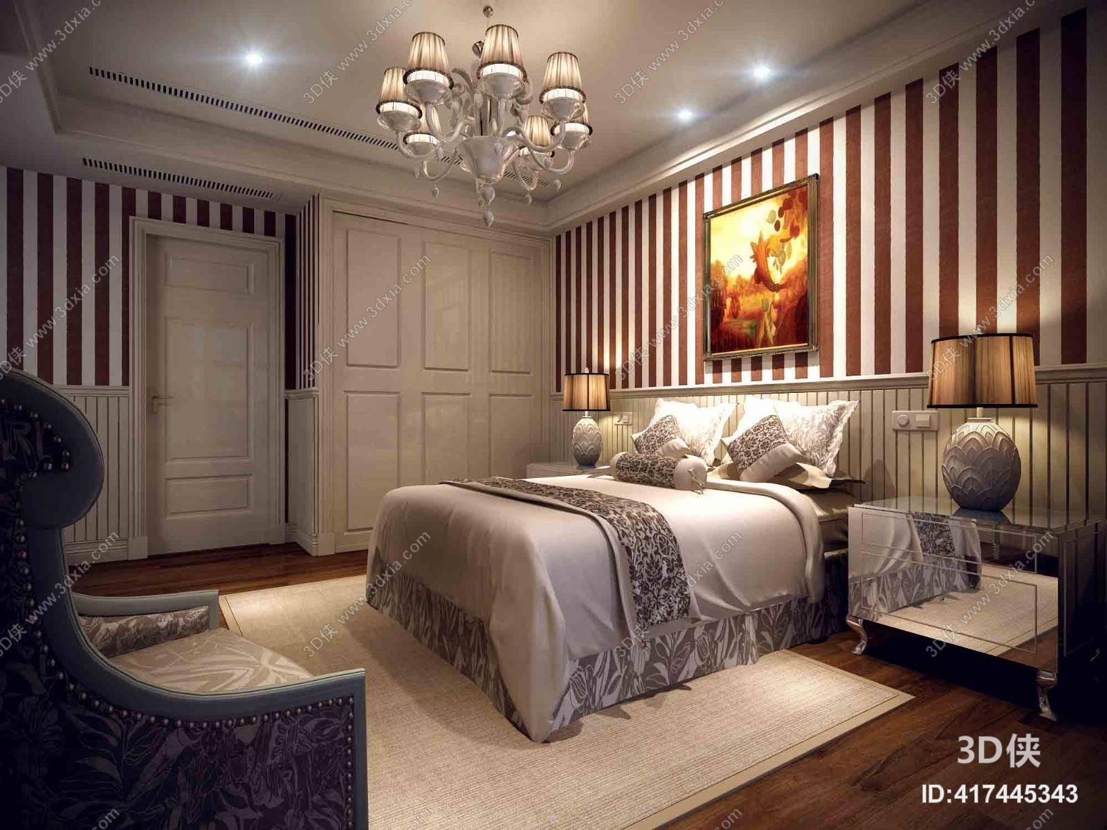 欧式简约家居主卧室 欧式简约玻璃吊灯 欧式简约银色木艺床头柜 欧式