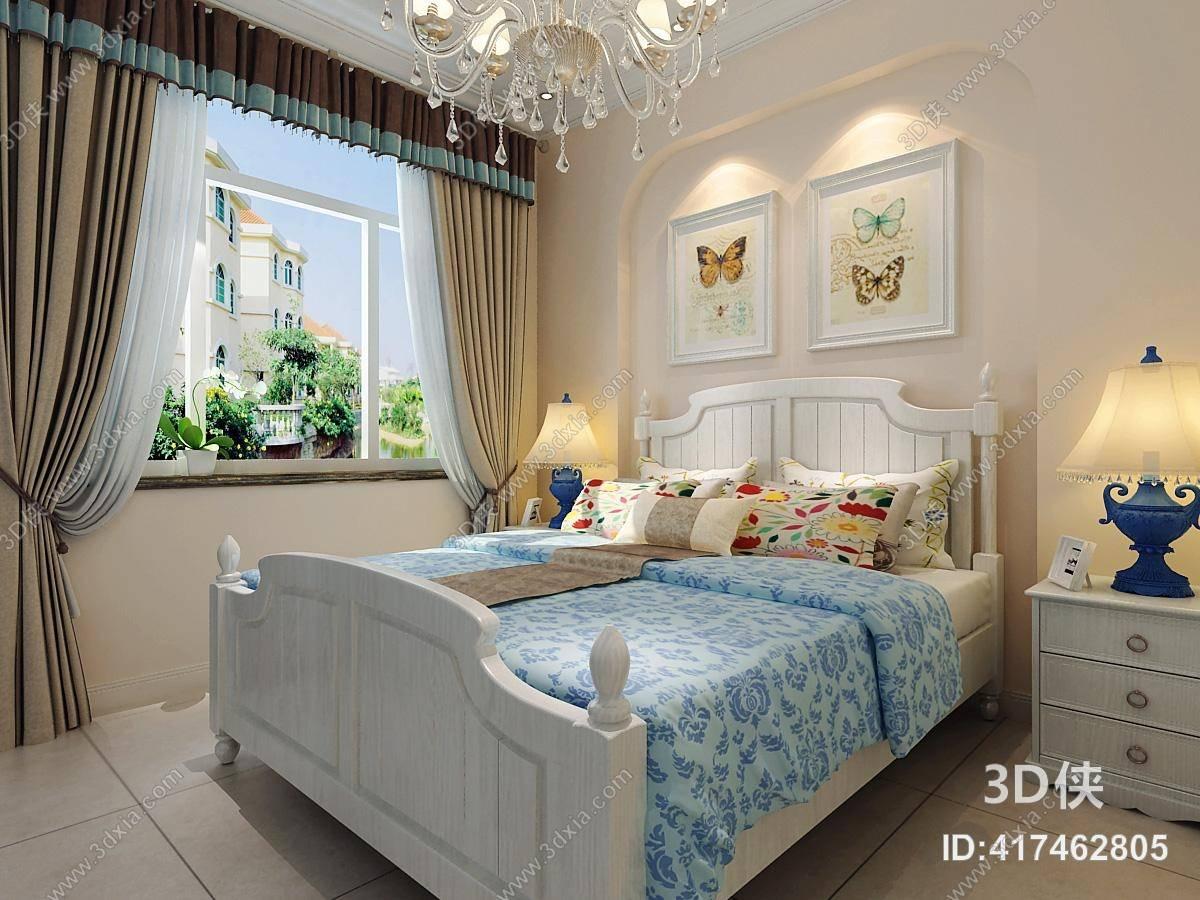 效果图素材免费下载,本作品主题是美式简约家居卧室 美式简约水晶吊灯图片