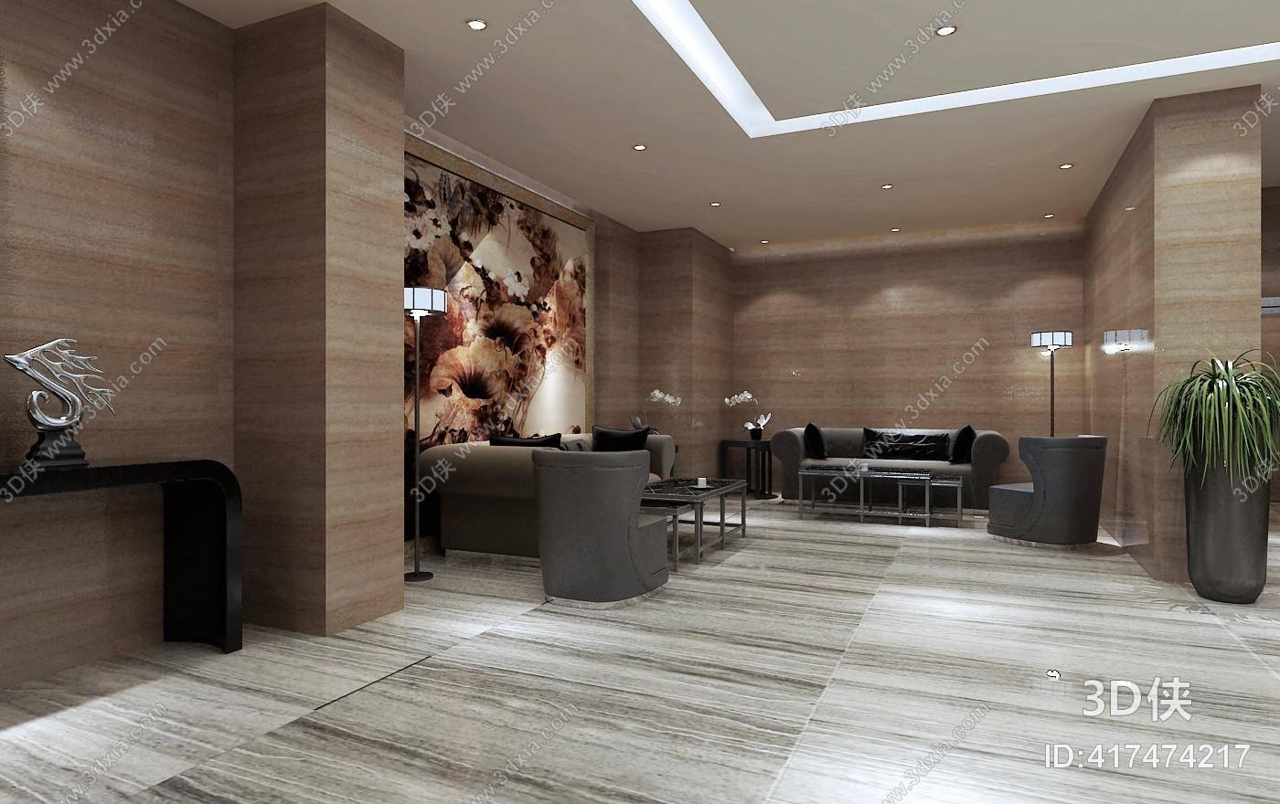 酒店大堂效果图素材免费下载,本作品主题是现代酒店大堂 现代酒店前台