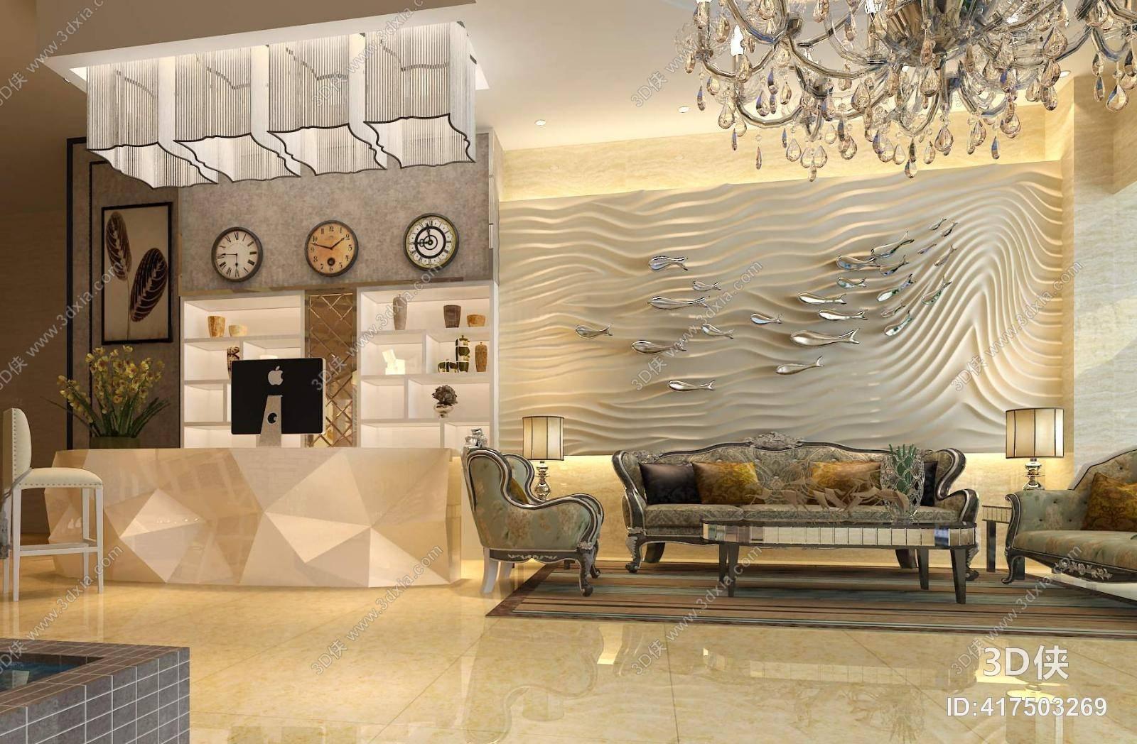 欧式简约酒店大堂 欧式简约透明水晶吸顶灯 欧式简约布艺沙发茶几组合