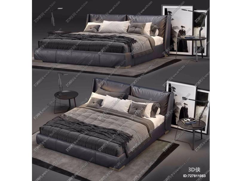 现代皮革双人床床头柜台灯组合3D模型