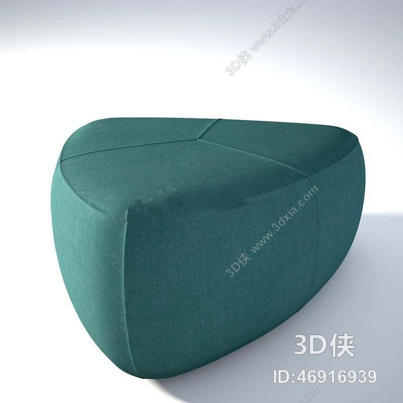 椅子凳子效果图素材免费下载,本作品主题是创意鹅卵石布艺沙发凳子
