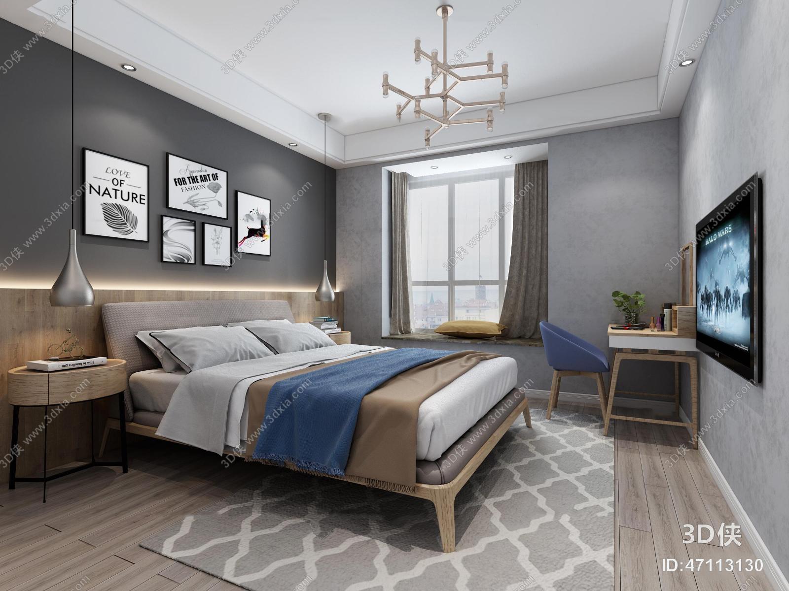 北欧卧室双人床3D模型