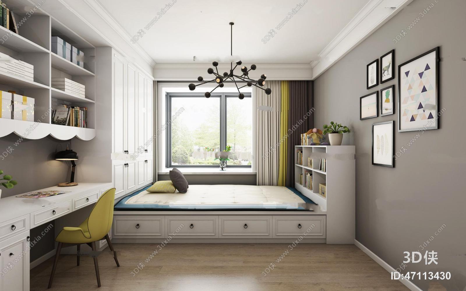 现代榻榻米卧室3D模型