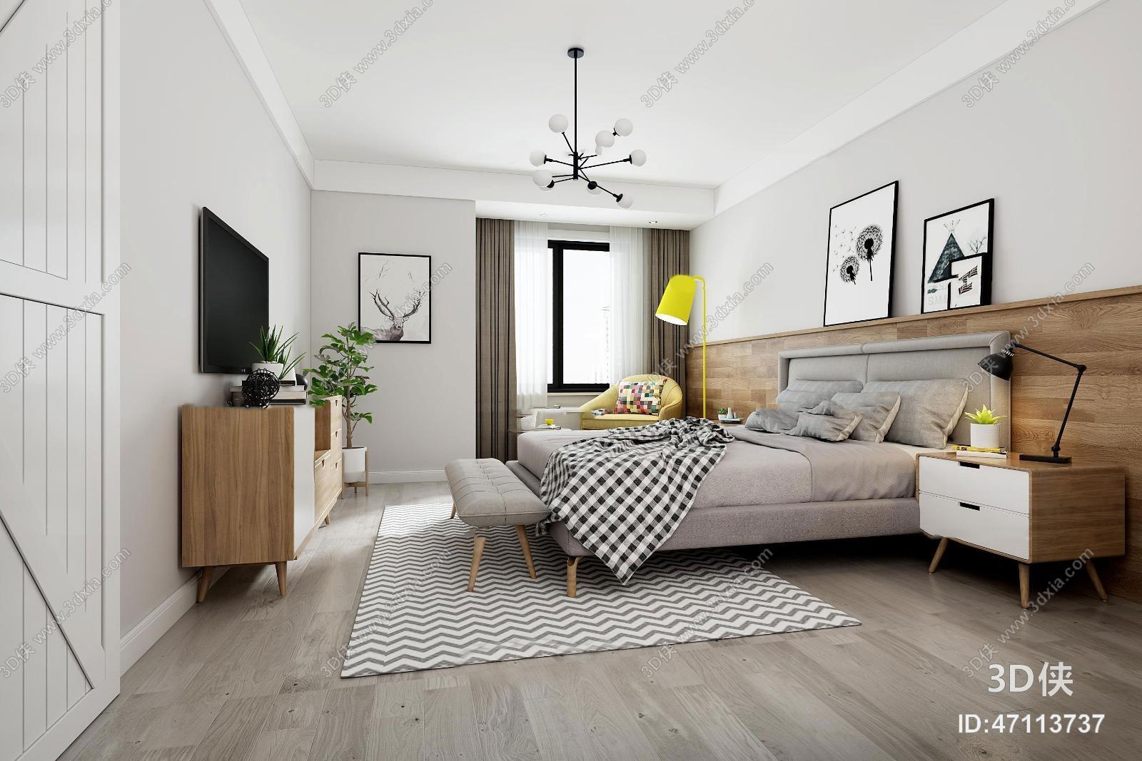 北欧卧室主人房3D模型
