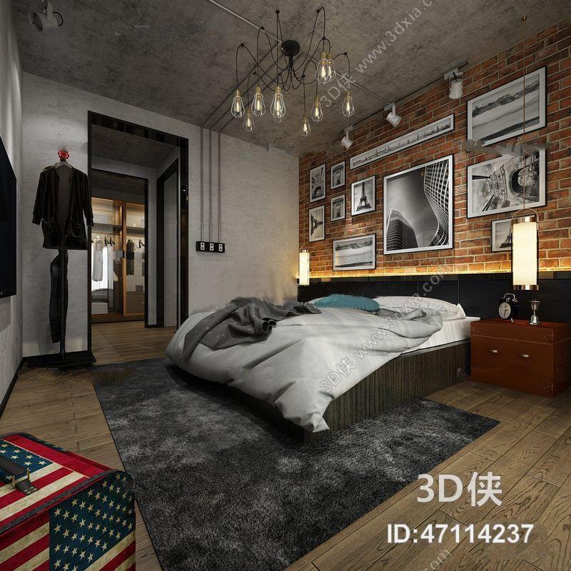 工业风卧室3d模型【id:47114237】