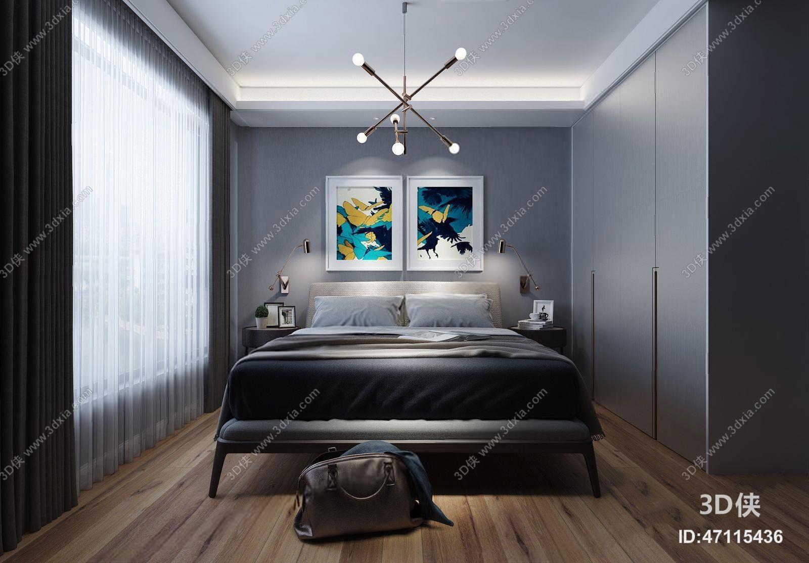 效果图素材免费下载,本作品主题是北欧卧室,编号是47115436,格式是max