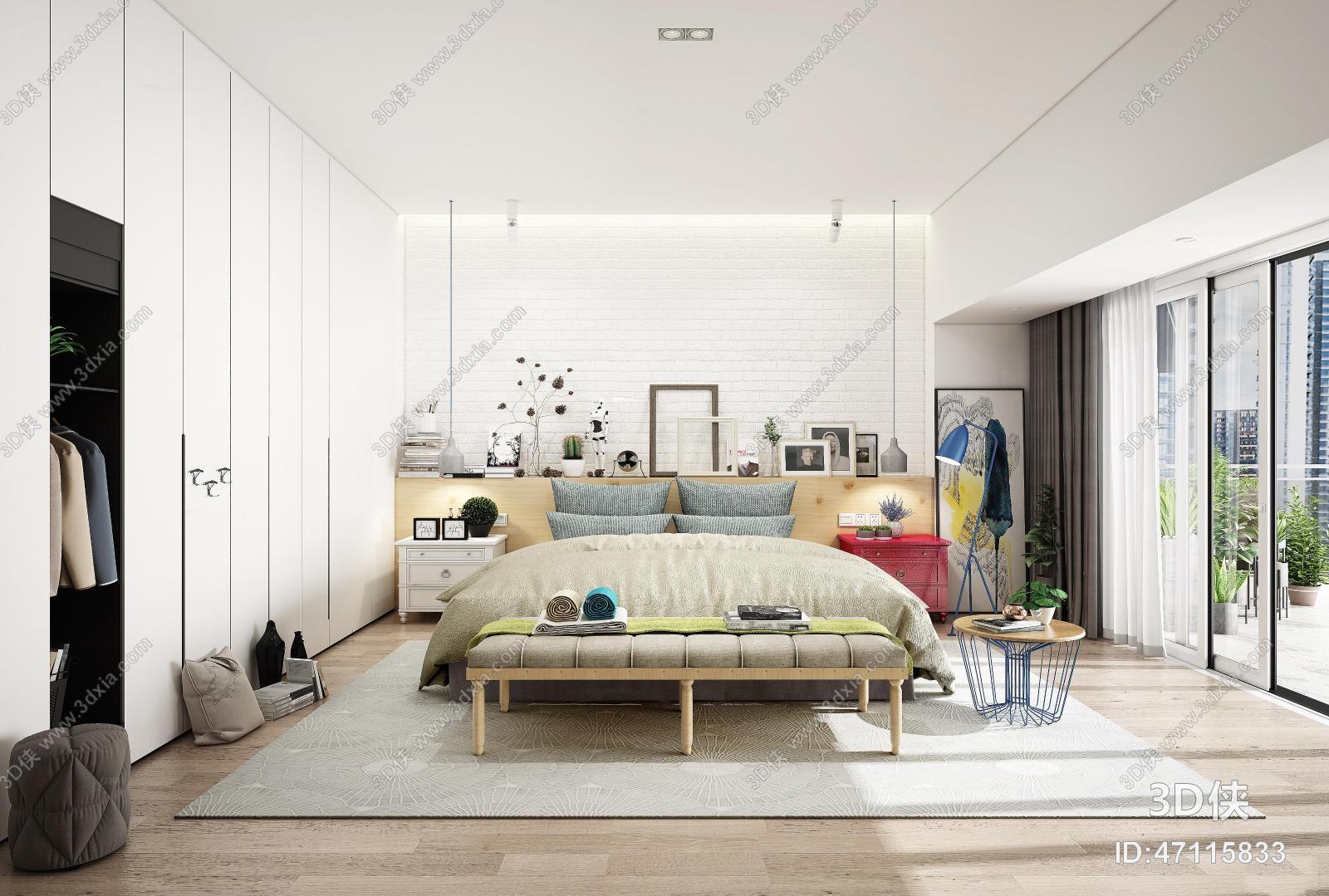 效果圖素材免費下載,本作品主題是現代北歐臥室3d模型,編號是47115833