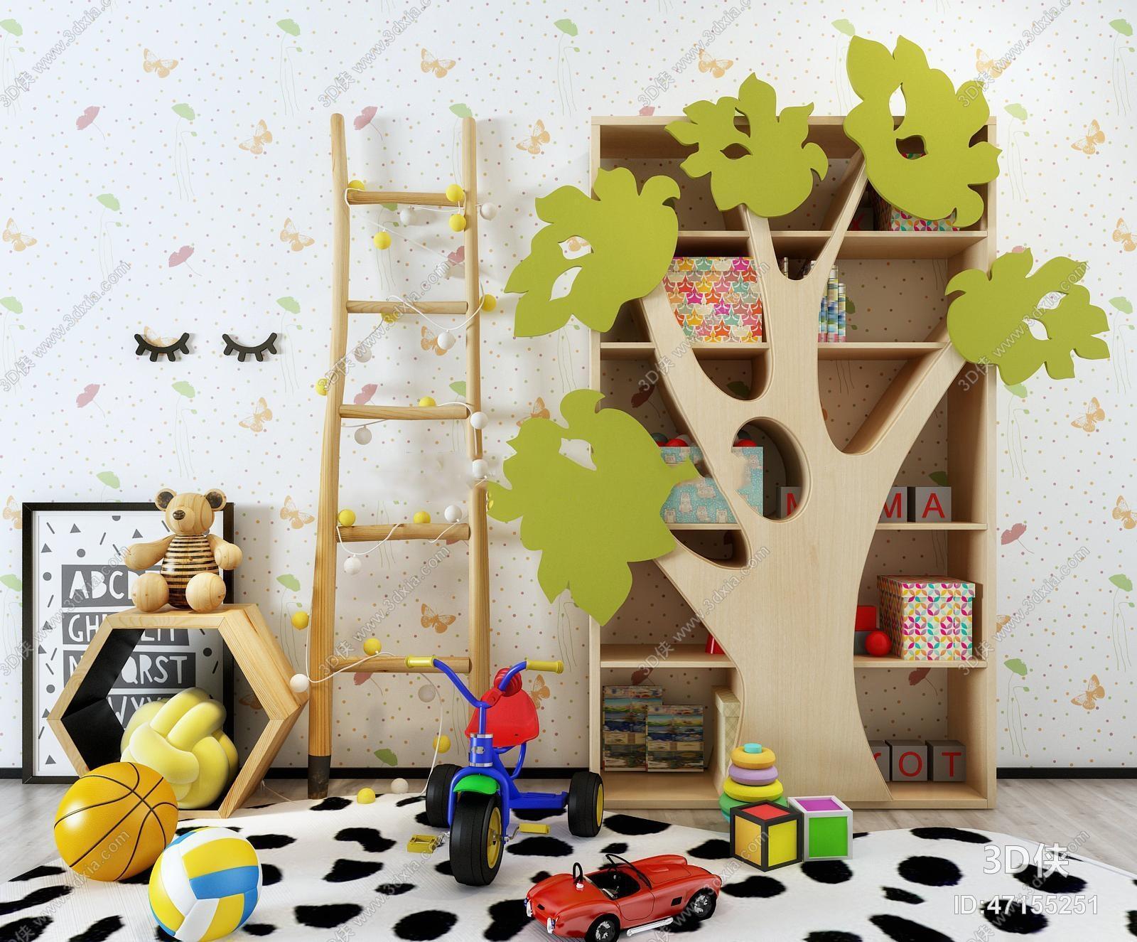 男孩儿童房效果图素材免费下载,本作品主题是现代树造型儿童书柜玩具
