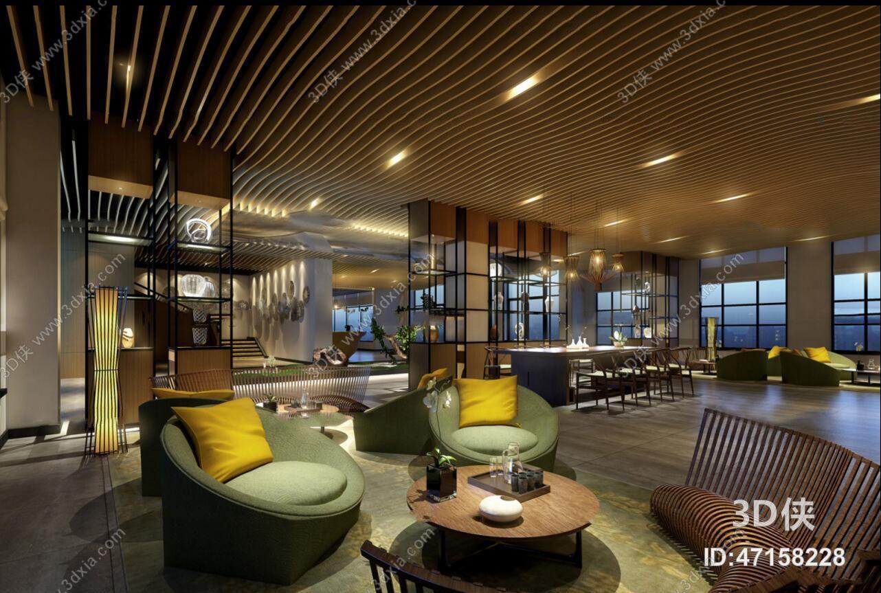 酒店大堂效果图素材免费下载,本作品主题是现代酒店会所大堂休息区3d