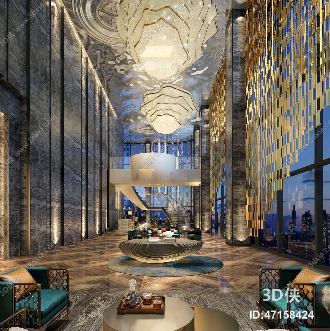 后现代酒店会所大堂3D模型