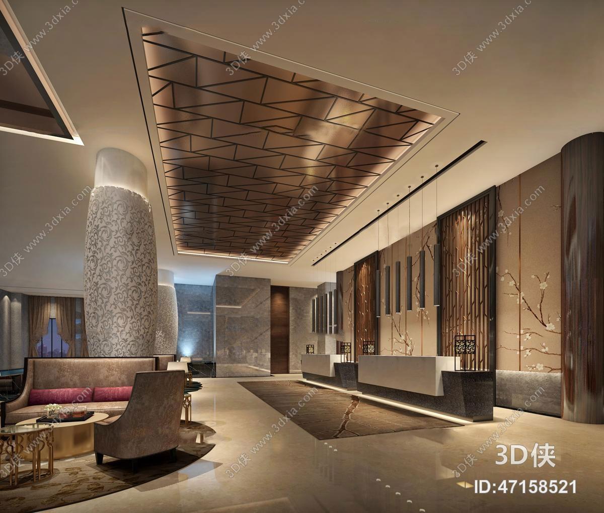 现代酒店大堂及大堂吧休息区3D模型