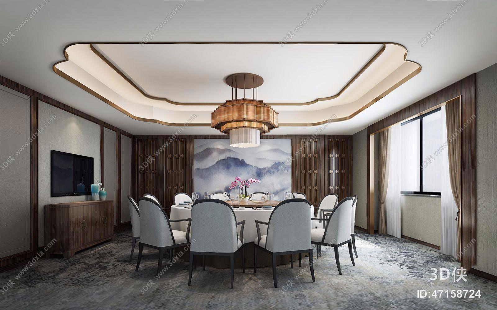 酒店大堂效果图素材免费下载,本作品主题是新中式包厢餐厅,编号是4715