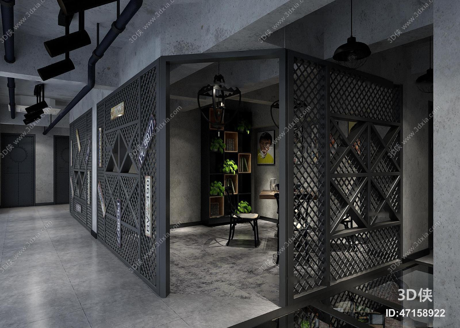 酒店大堂效果图素材免费下载,本作品主题是工业风餐馆包间3d模型,编号