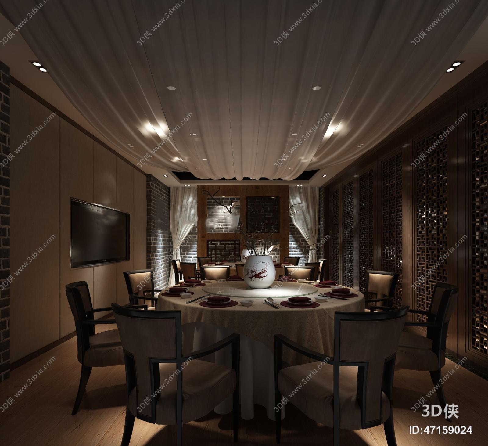 中式餐厅模型包间3d教程【id:47159024】室内设计手绘酒店pdf图片
