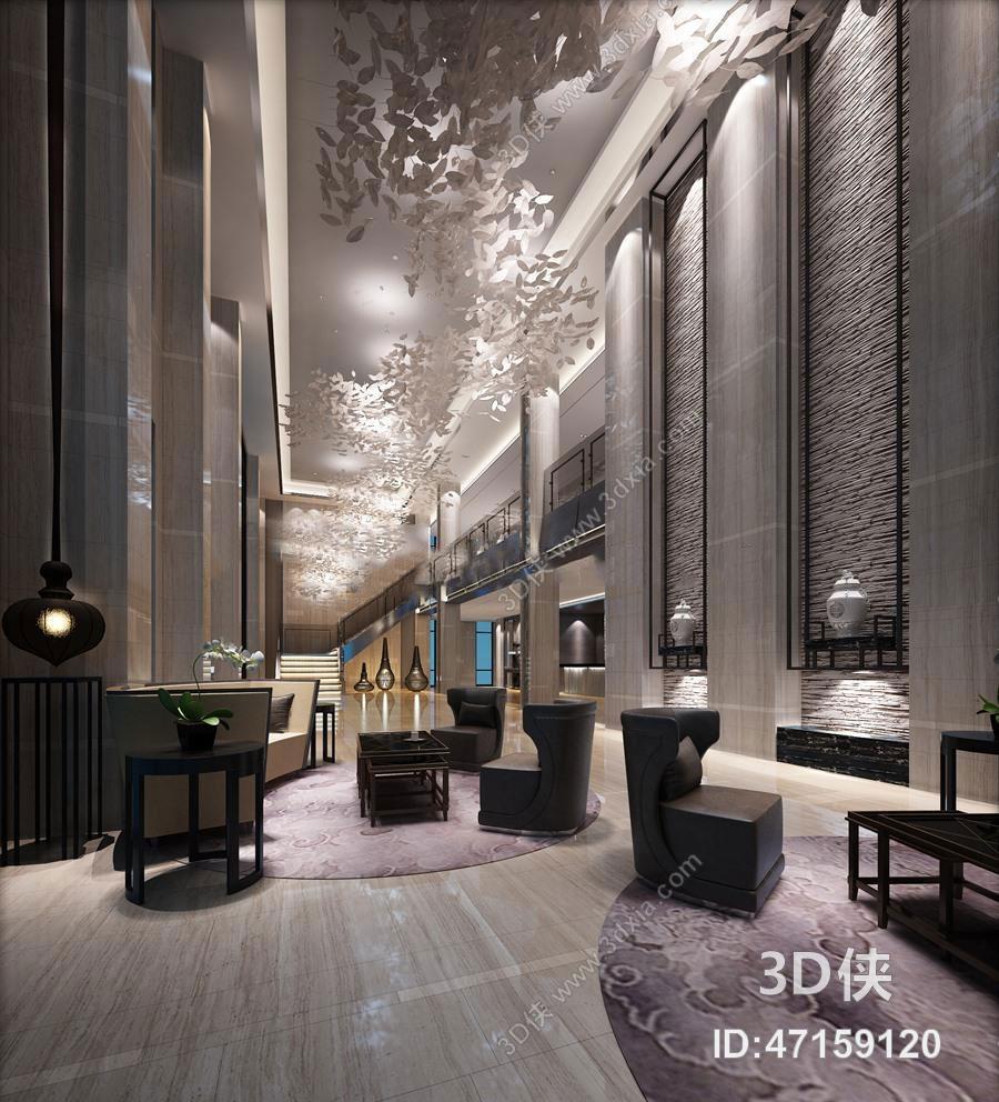现代酒店大堂空间3D模型