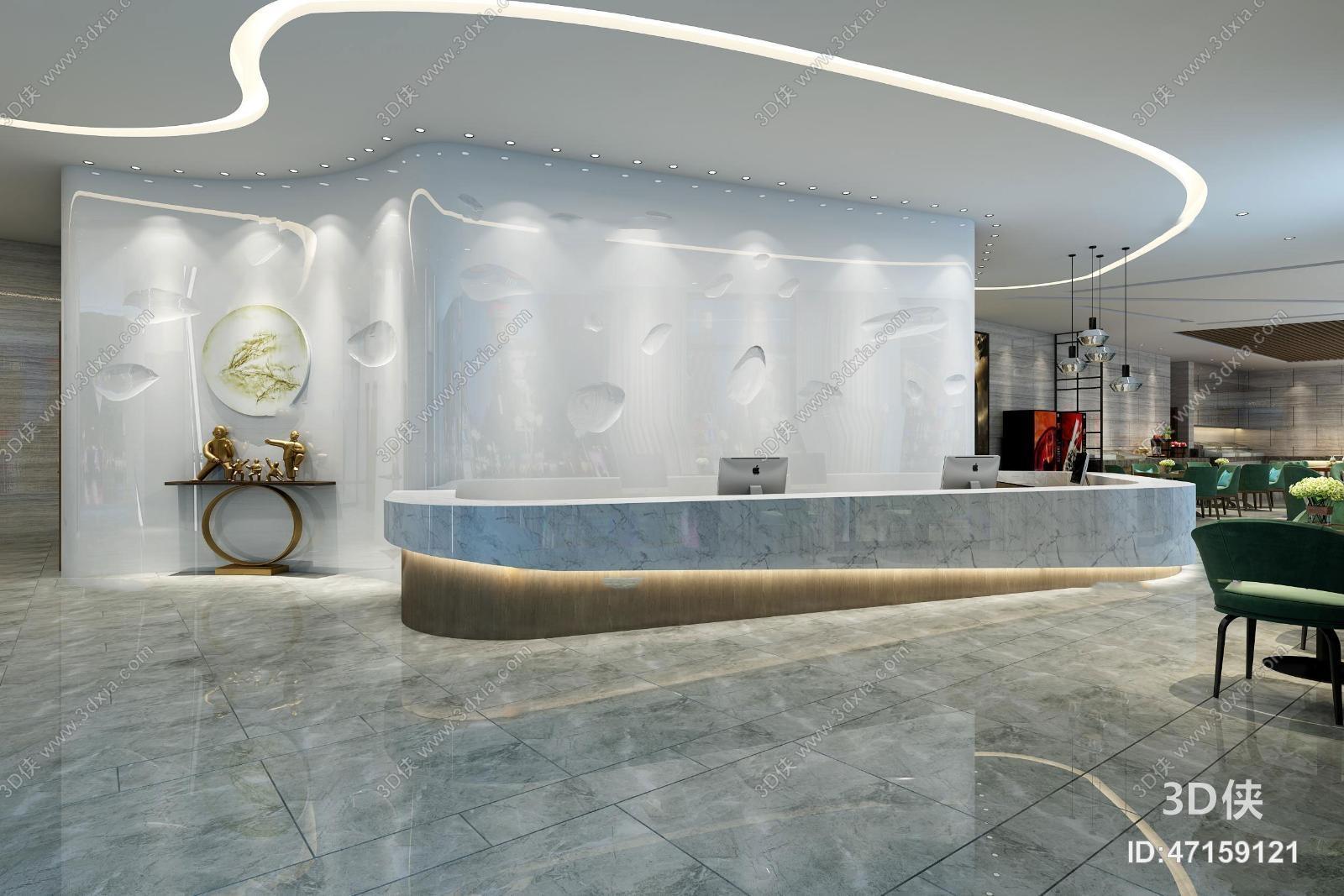 图素材免费下载,本作品主题是现代酒店大堂服务台大堂吧休息区3d模型