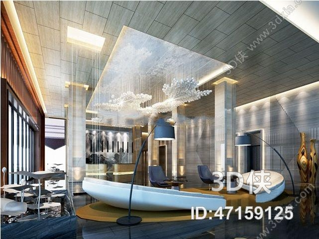 现代商务酒店大堂空间3D模型