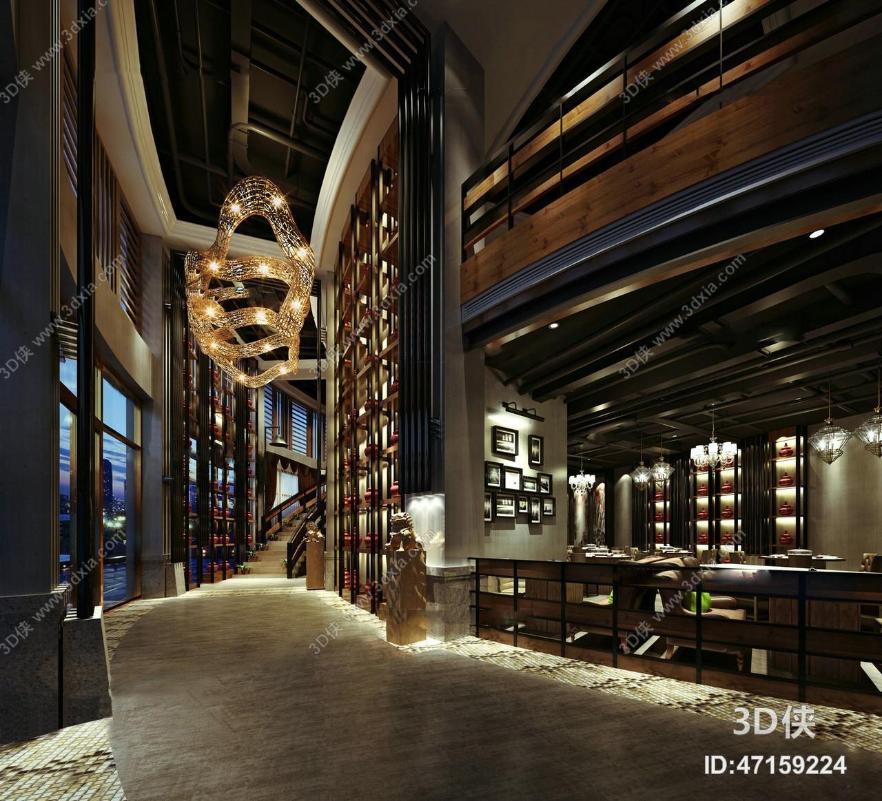 现代酒店走廊餐饮空间3D模型