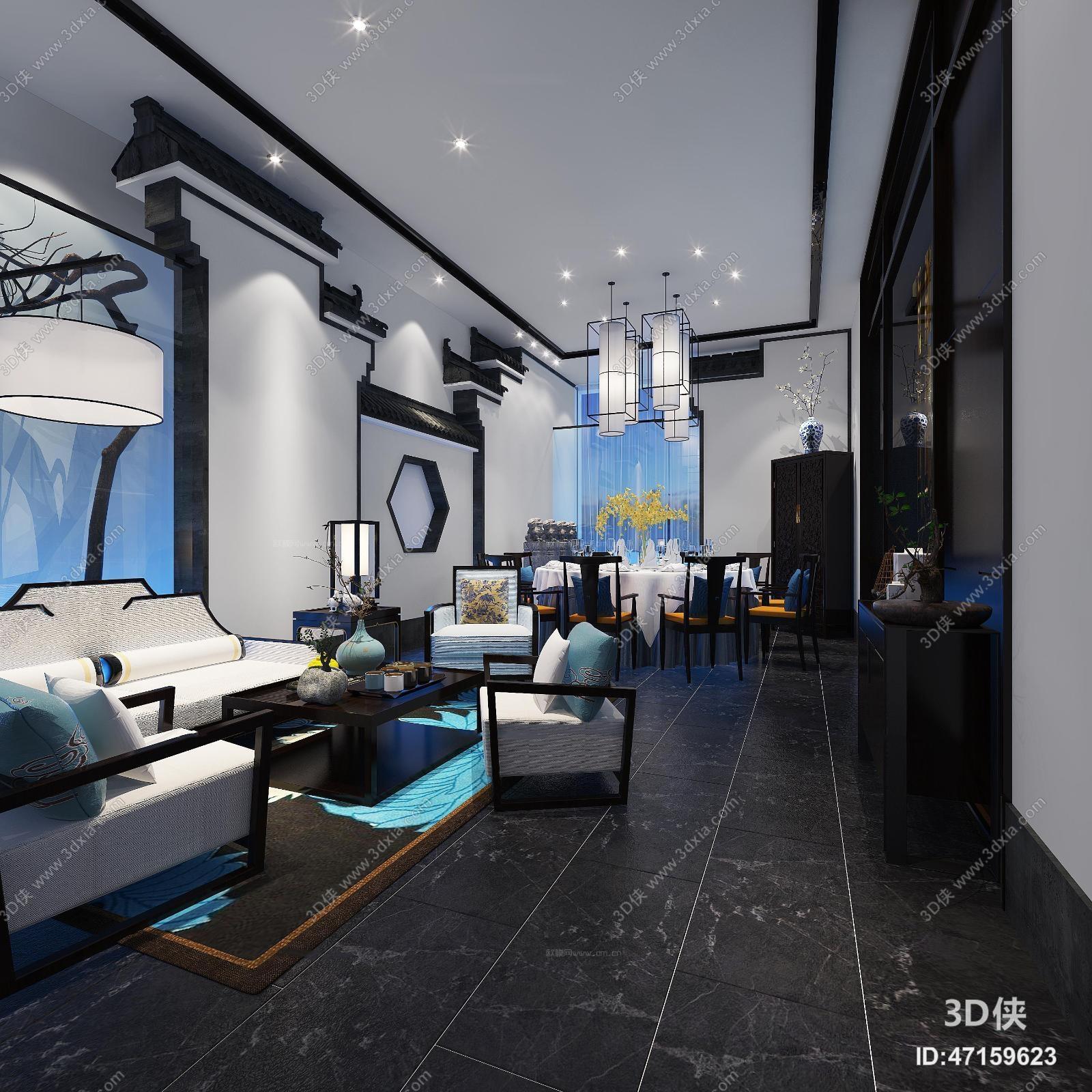 新中式酒楼餐厅包房3d模型下载【id:47159623】