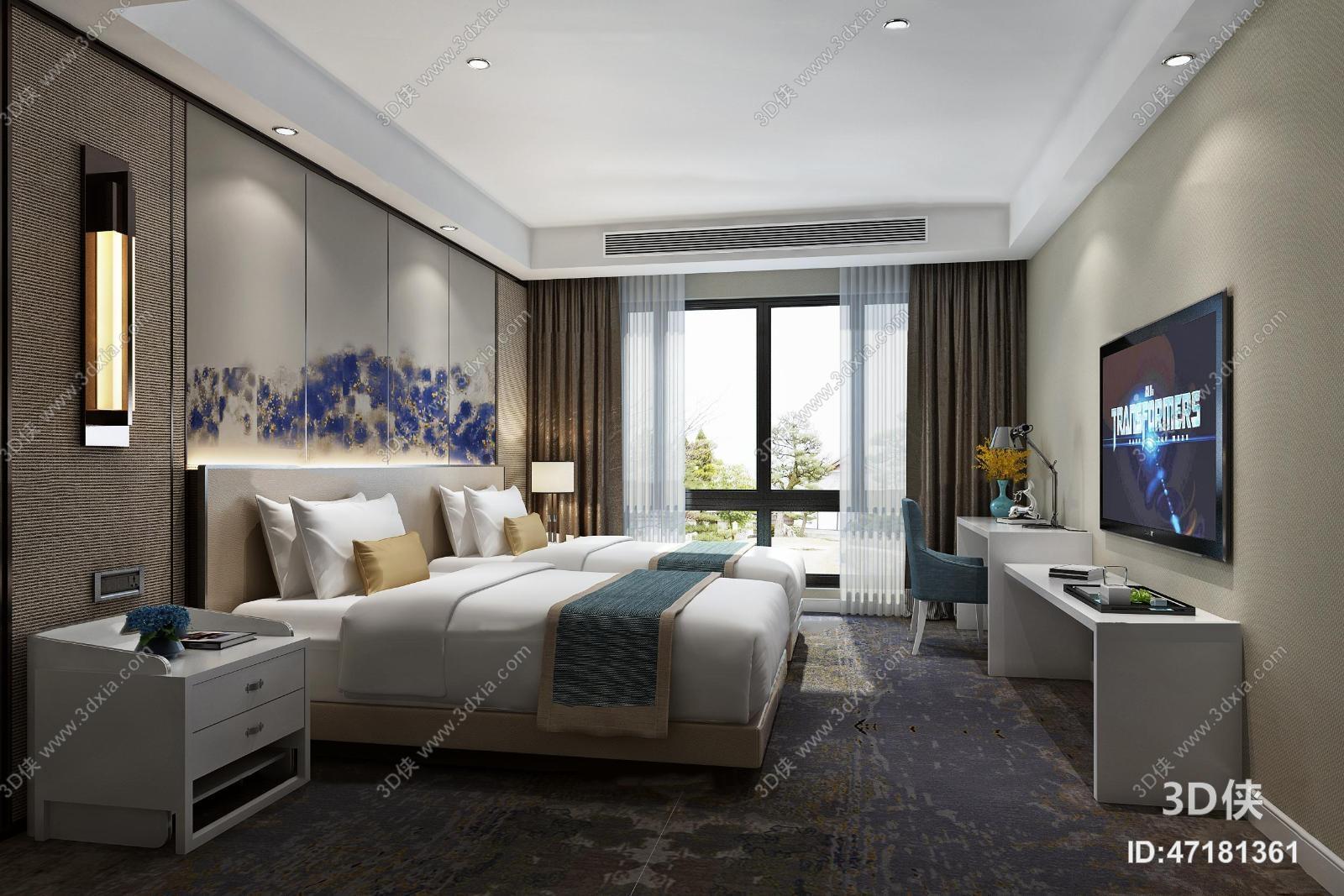 现代酒店客房双人标间3D模型