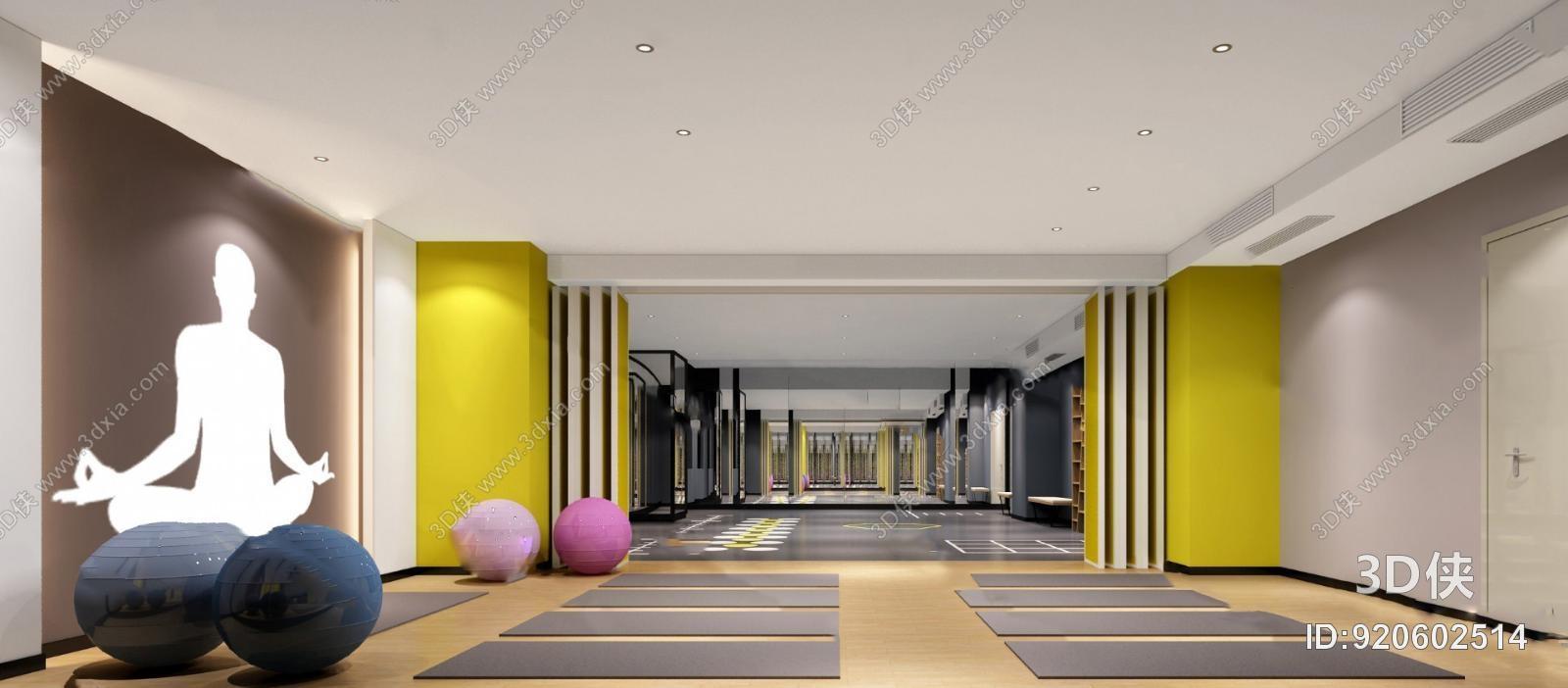 健身房效果图素材免费下载,本作品主题是现代瑜伽室3d模型,编号是图片