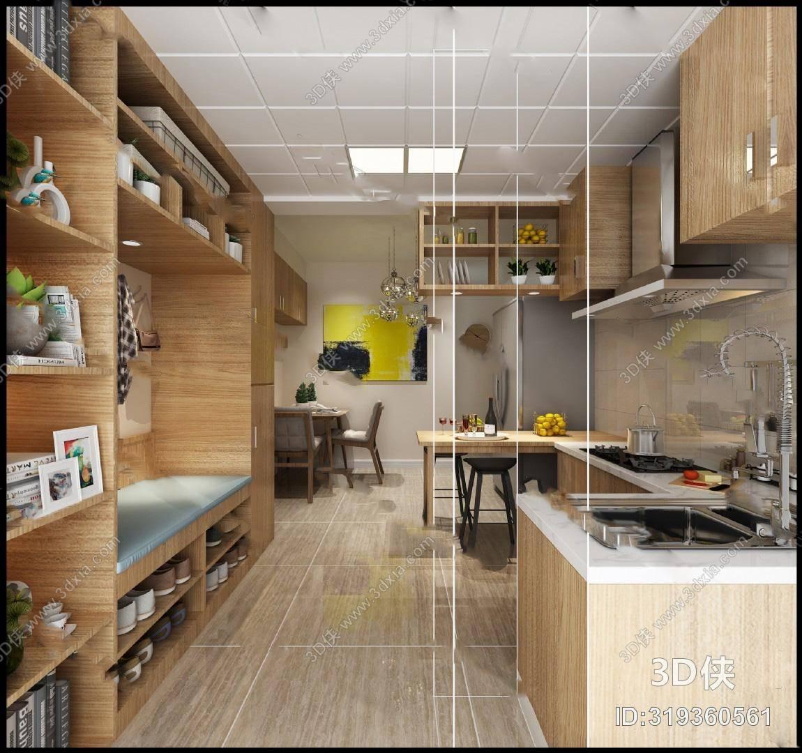现代厨房3D模型 餐桌椅组合