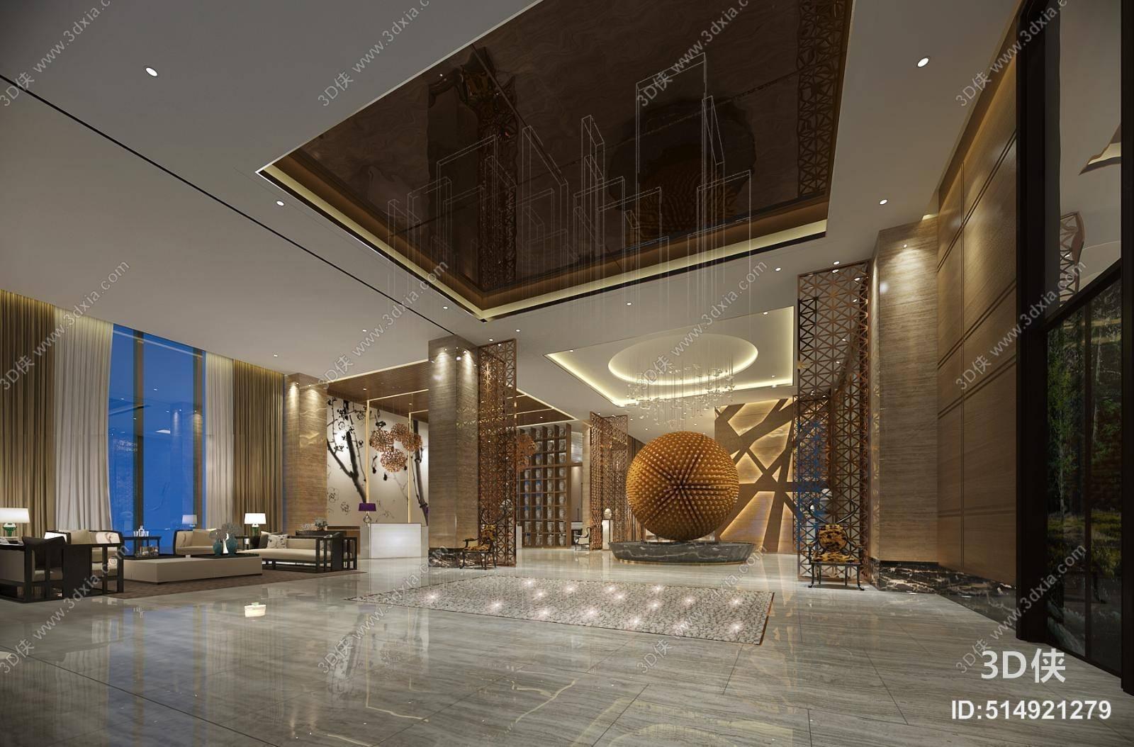 新中式酒店休息区 新中式木艺沙发茶几组合 圆形装饰品