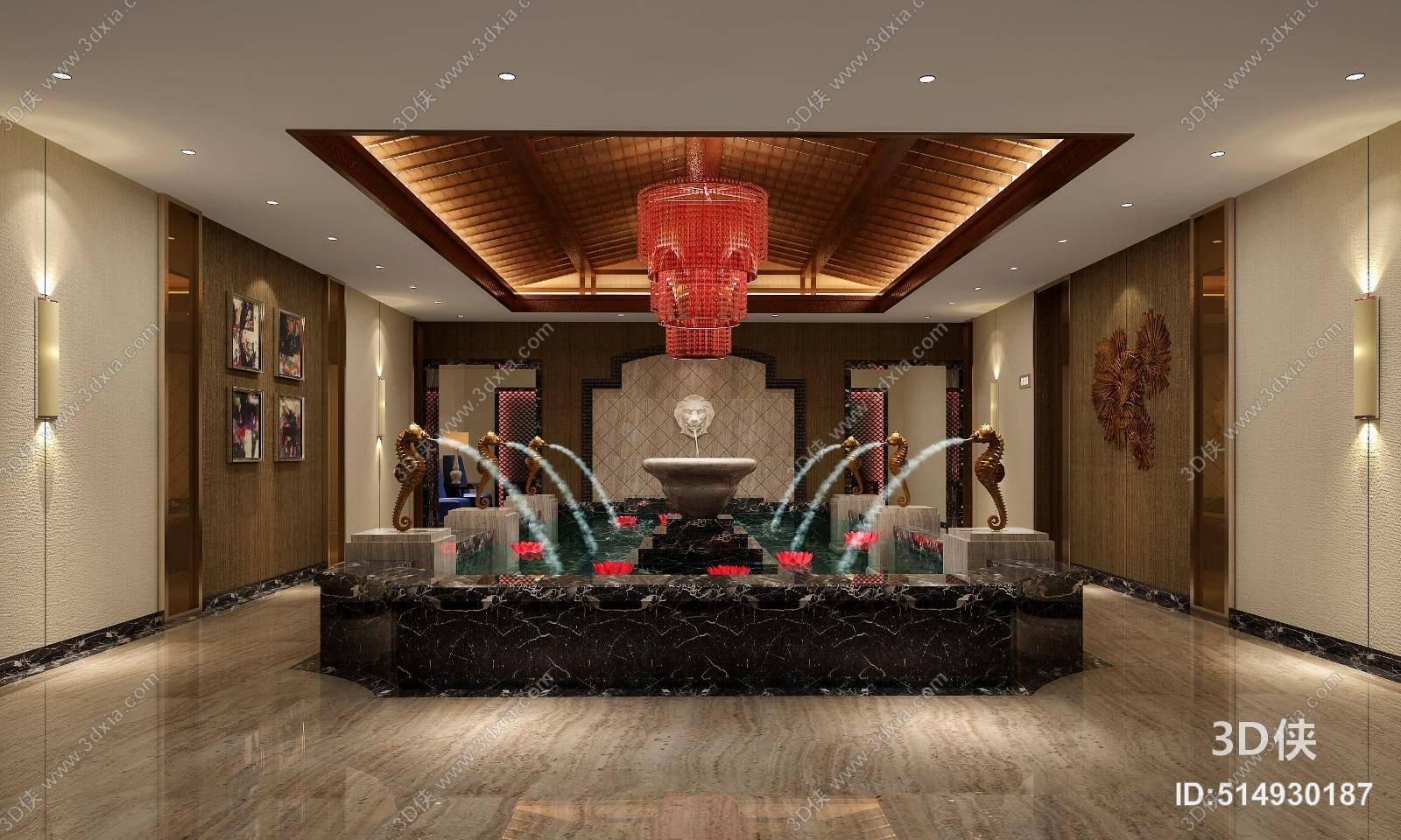 中欧混搭酒店会所 欧式新古典红色玻璃吊灯