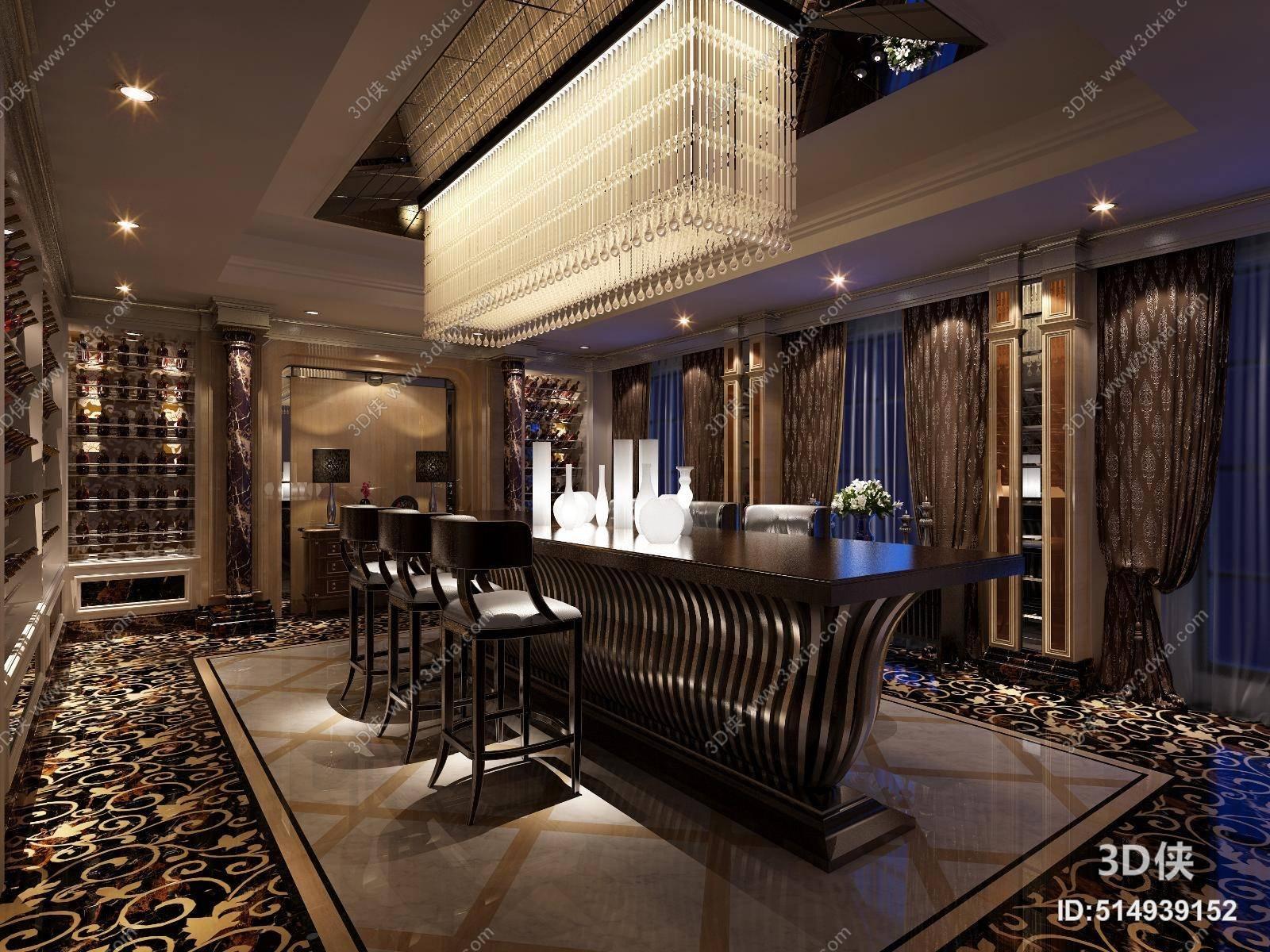 欧式新古典酒店会所 欧式新古典玻璃吊灯 欧式新古典黑色木艺吧椅组合