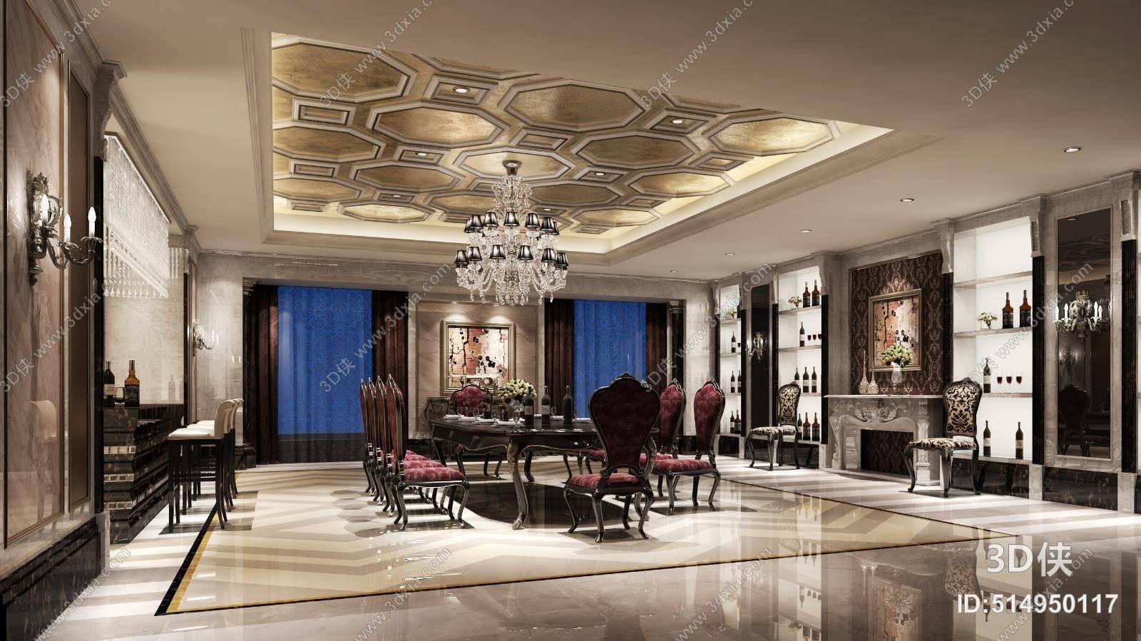 经典欧式酒店会所 经典欧式玻璃吊灯 经典欧式餐桌椅组合