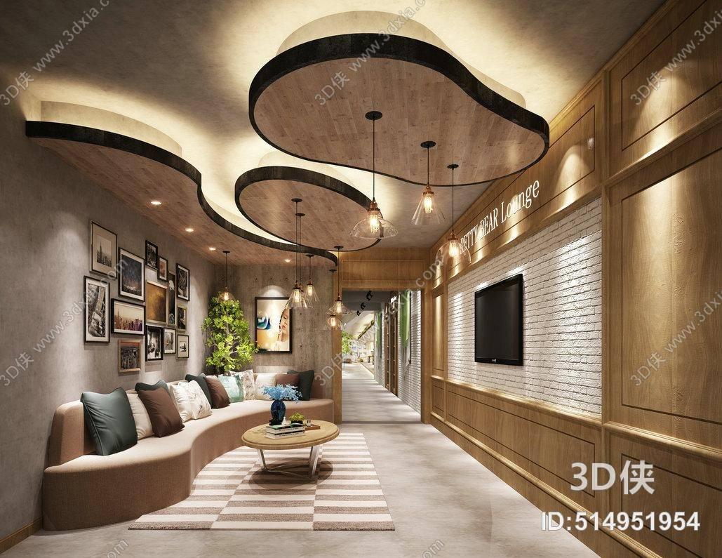 现代公司大堂 现代沙发茶几组合 方型挂画组合 玻璃吊灯
