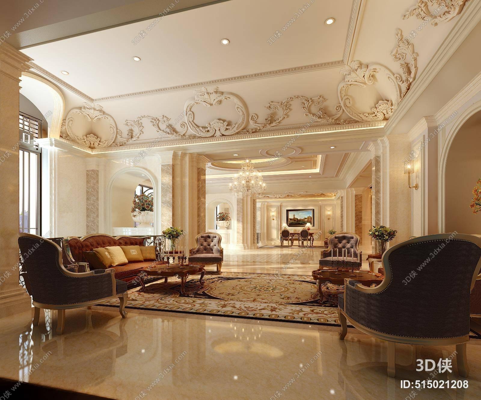 2010,建议使用3dmax 2012 软件打开,该经典欧式酒店休息区图片素材